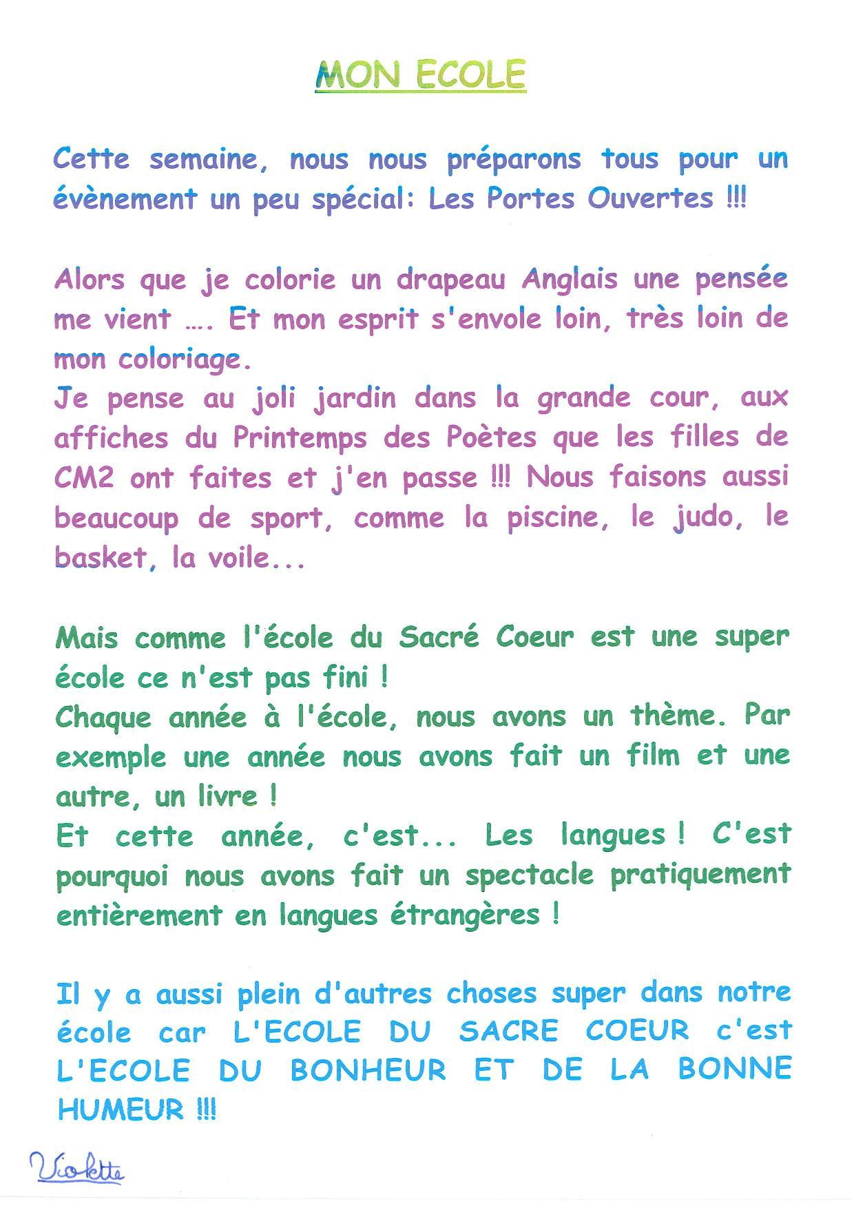 Coloriage Kermesse Ecole.Mon Ecole Textes Des Cm2